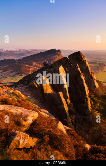 Sonnenuntergang an der Schaben Staffordshire Peak District Nationalpark England UK GB EU Europa Stockbild