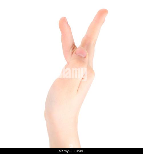 kindliche Hand steht für Buchstaben Y von alphabet Stockbild