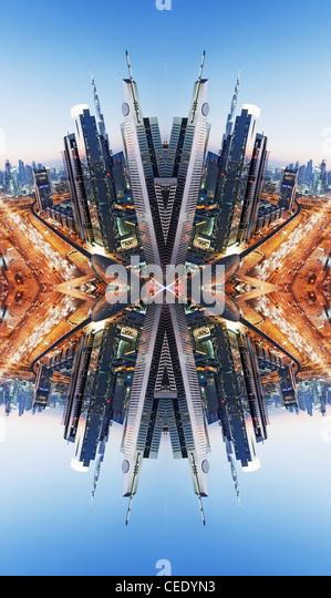 Die Innenstadt von Dubai abstrakt Stockbild