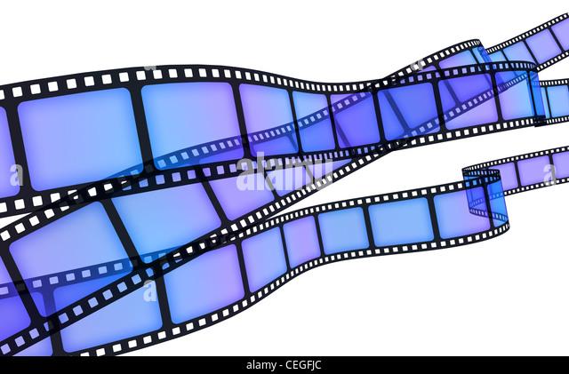 Hintergrund Film blau (durchgeführt in 3d) Stockbild