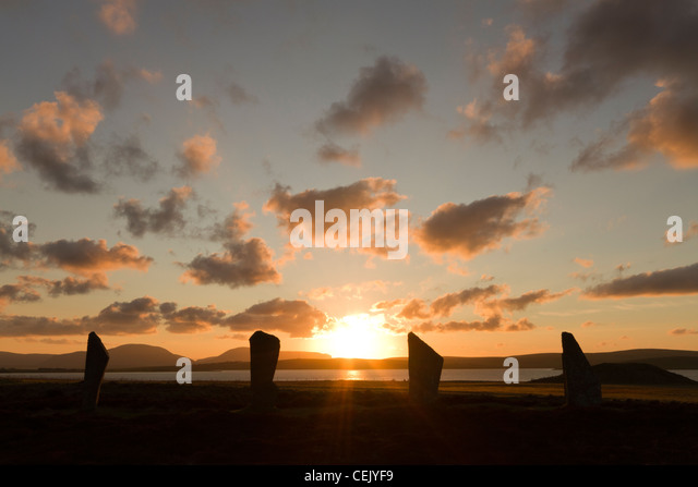 Orkney Winter Sonnenuntergang an The Ring of Brodgar Stockbild