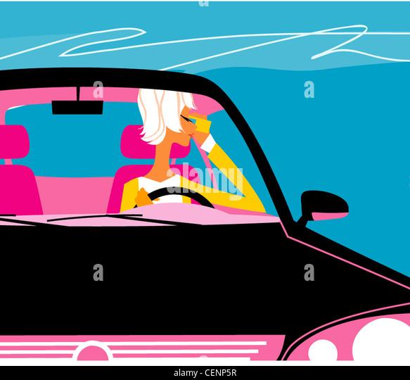 Illustration der weiblich, ein schwarzes Auto fahren und telefonieren mit ihrem Handy Stockbild