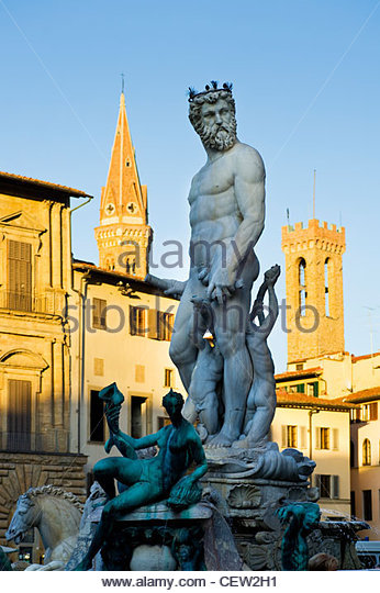 Brunnen von Neptun, Piazza della Signoria, Florenz, Italien. Stockbild