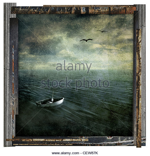 auf dem Meer verloren Kunstwerk Stockbild