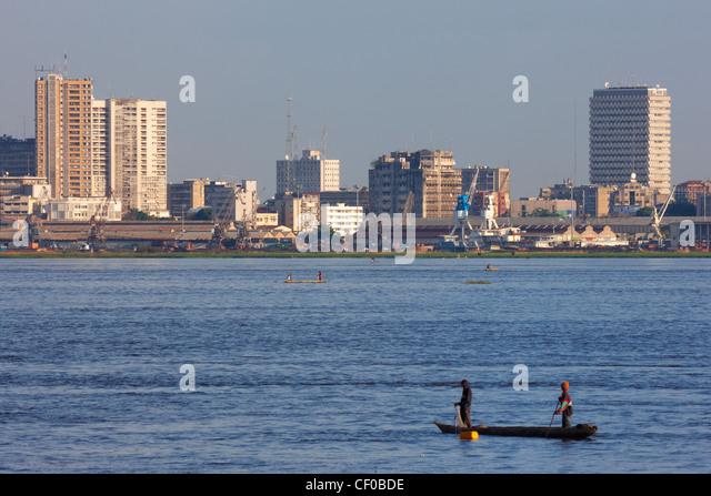 Skyline von Kinshasa, demokratische Republik Kongo, Afrika Stockbild