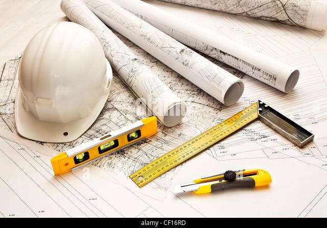 Architektur blau Pläne und Werkzeuge Stockbild
