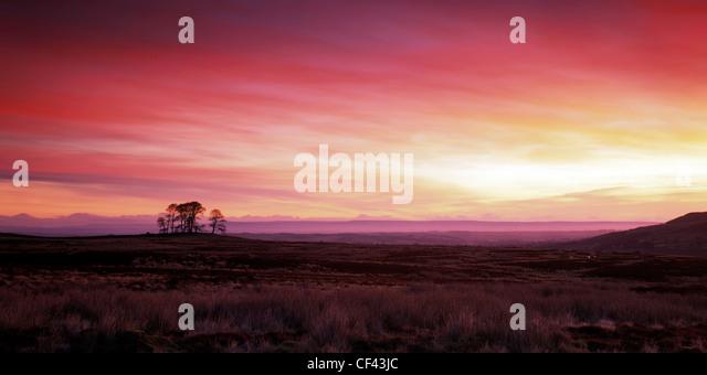 Schönen roten Himmel bei Tagesanbruch über den North Yorkshire Moors. Stockbild