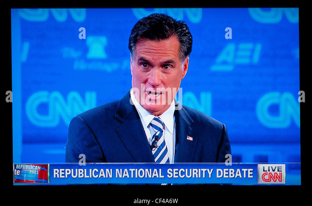 Mitt Romney am 2012 Republican National Sicherheitsdebatte auf CNN TV-Nachrichten 22. November 2011 Stockbild