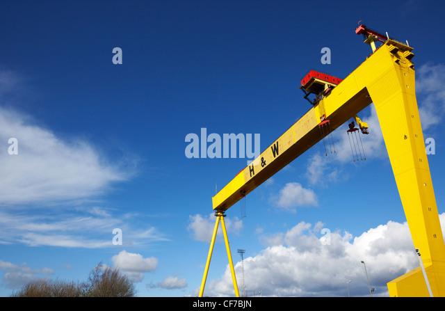 gelben Harland und Wolff Gantry Kran Belfast Werft titanic Viertel Belfast Nordirland Stockbild