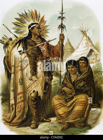 Indianer. Indian Red Rennen. Farbige Gravur, Ende des 19. Jahrhunderts. Stockbild