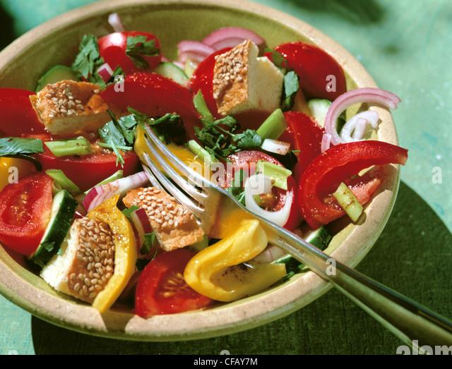 Tomaten-Brot-Salat Stockbild
