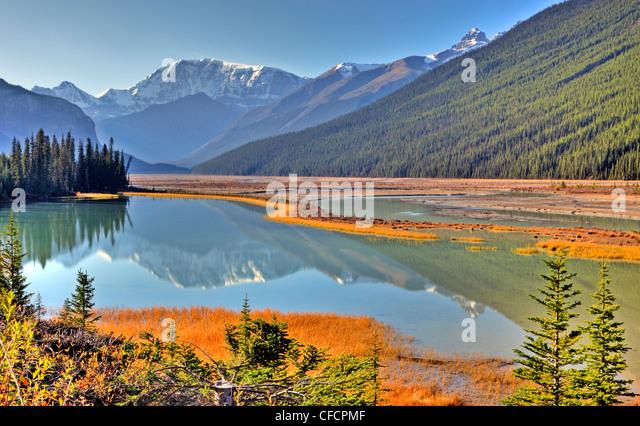 Sunwapta River, Jasper Nationalpark, Alberta, Kanada Stockbild