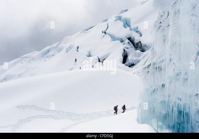 Kletterer auf dem Gletscher des Volcan Cotopaxi, 5897 m der höchste aktive Vulkan der Welt, Ecuador, Südamerika Stockbild