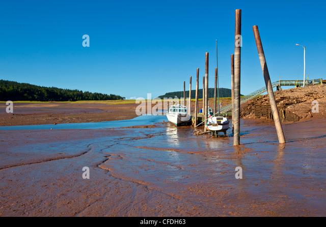 Angelboote/Fischerboote am Kai bei Ebbe, Five Islands, Nova Scotia, Kanada gefesselt Stockbild