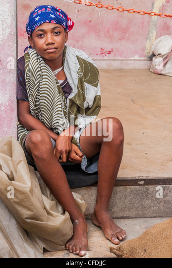 Sakalava Frau von Ambilobe, Norden von Madagaskar Stockbild