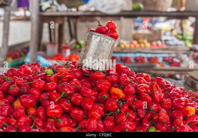 Anzeige der Chili auf dem Markt von Ambilobe, Norden von Madagaskar Stockbild