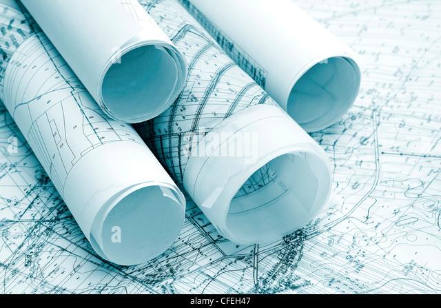 Architektur blau Pläne Stockbild