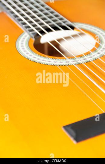 klassische Guitarre mit 6 Saiten Stockbild