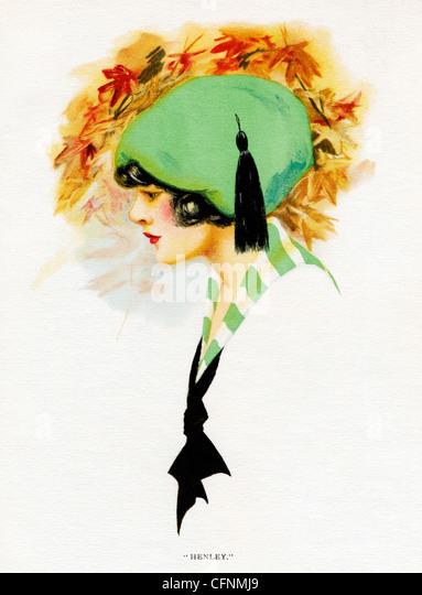 Henley, 1920 Art Deco-Abbildung von einem hübschen Mädchen in einen grünen Hut Stockbild