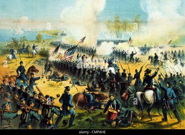 Die Schlacht von Shiloh, auch bekannt als die Schlacht von Pittsburg Landing, Schlacht im westlichen Theater des Stockbild