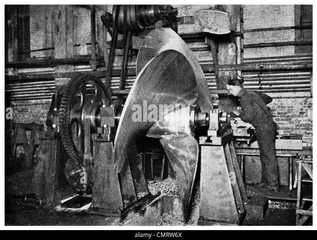 1918 Schiffsschraube Herstellung Maschinenwerkstatt Hog Island Hog Island Philadelphia, Pennsylvania, Stockbild