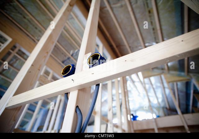 Elektrische Steckdose im Haus Bau Stockbild