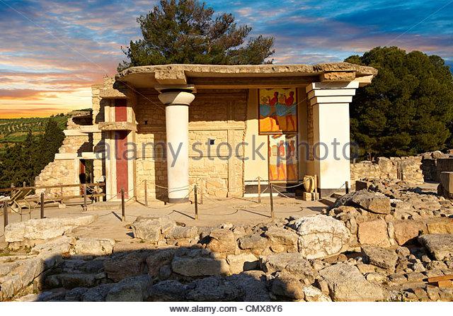 Arthur Evans Rekonstruktion der Süden Propylaeum Knossos minoische Ausgrabungsstätte, Crete Stockbild