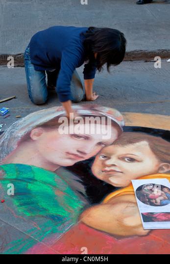 Europa, Italien, Florenz, Street-Artist Painter Stockbild