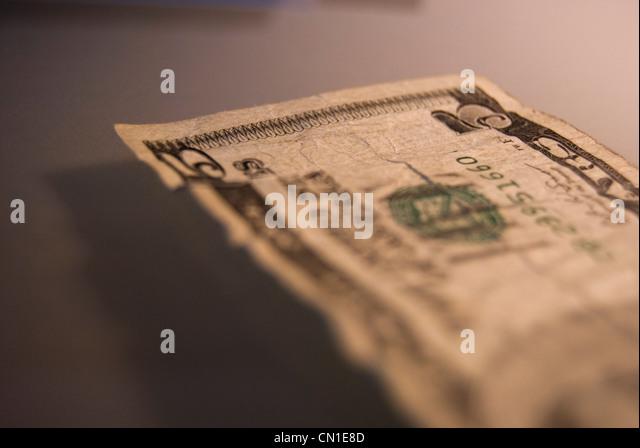 Fünf Dollar Bill Nahaufnahme Stockbild