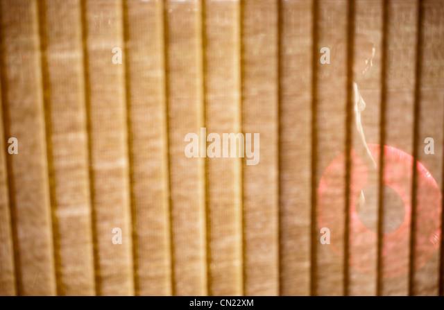 Frau mit aufblasbaren Ring gesehen durch Fenster-Vorhänge Stockbild