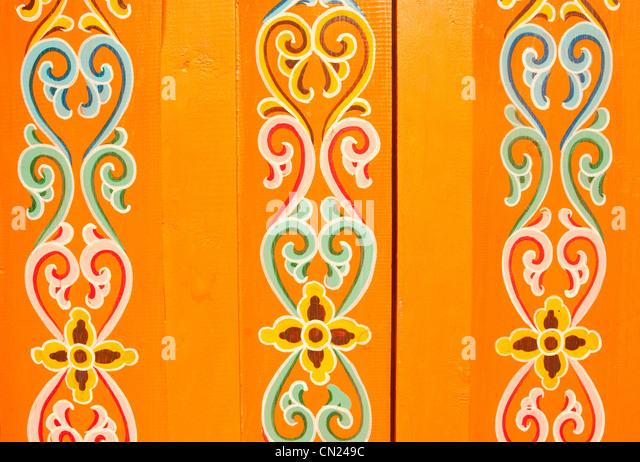 Dekorative Muster auf Zigeuner Jurte Stockbild