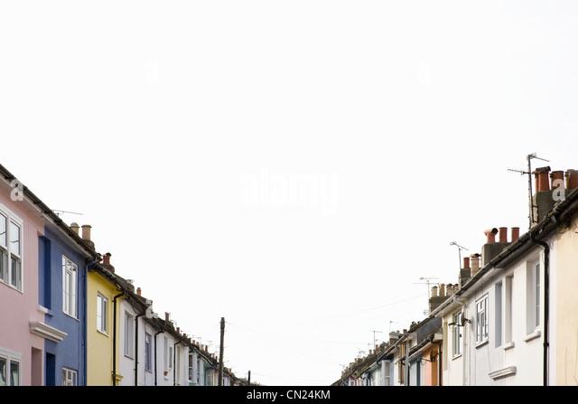 Bunte Häuserzeile Stockbild
