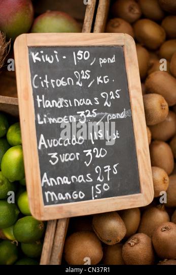 Melden Sie sich am Marktstand in Amsterdam, Niederlande Stockbild