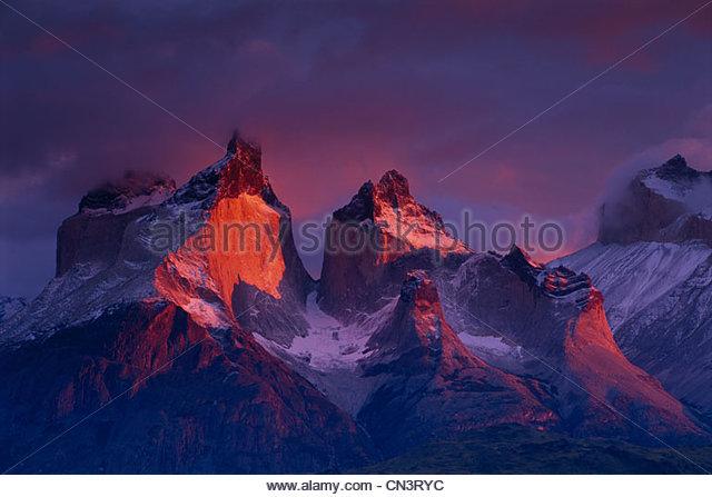 Cuernos del Paine, Torres del Paine Nationalpark-Chile Stockbild