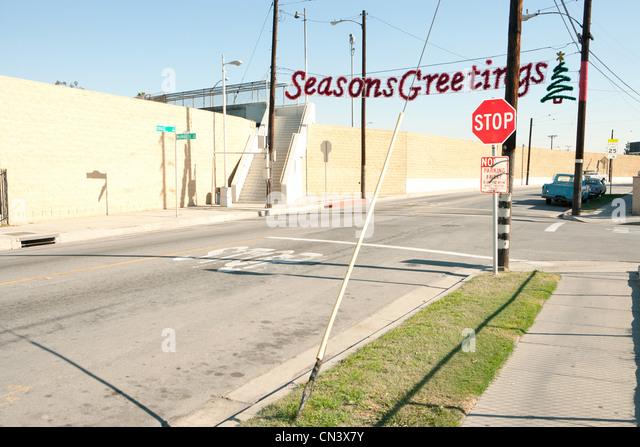Seasons Greetings Banner im düsteren Viertel Stockbild