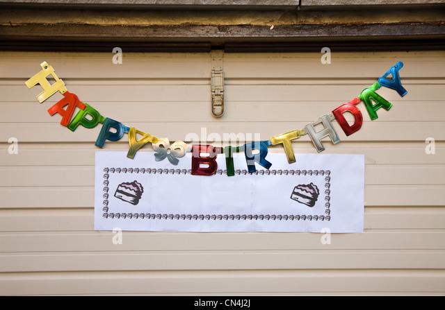 Alles Gute zum Geburtstag Schild Stockbild