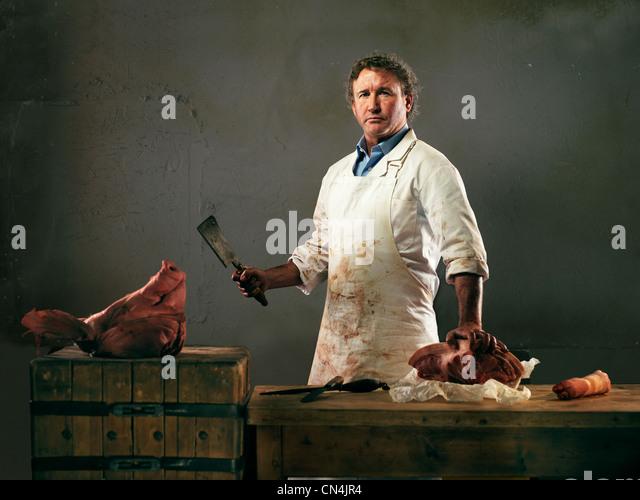 Metzger, die Zubereitung von Fleisch vom Schwein Stockbild