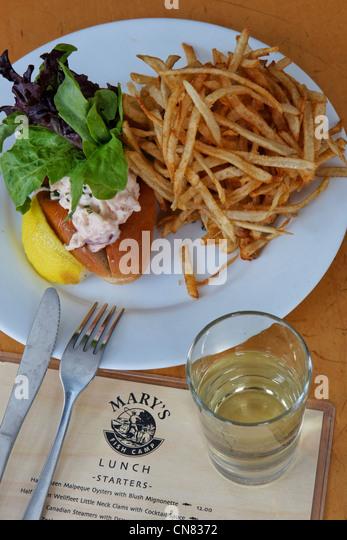 Vereinigte Staaten, New York City, Manhattan, Westdorf, Marias Fish Camp Restaurant, spezialisiert auf Meeresfrüchte, Stockbild
