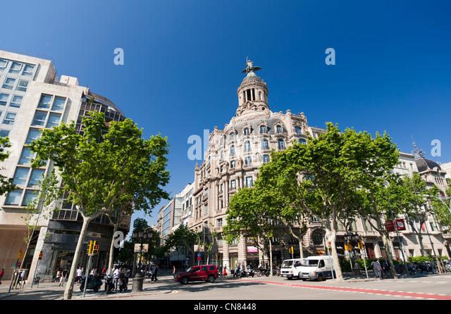 Passeig de Gracia, Barcelona, Spanien. Stockbild