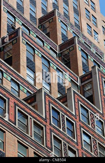 Vereinigte Staaten, New York City, Manhattan, Midtown, 30er Jahre Stil Gebäude-Fassade Stockbild