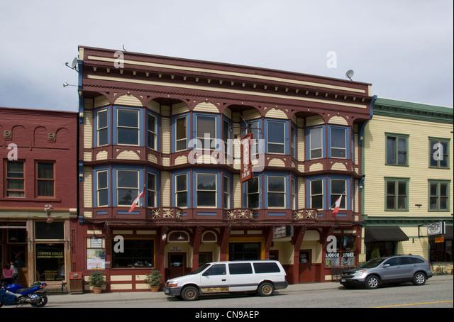 Alte Geschäfte und Wohnungen, Main Street, Greenwood British Columbia, Kanada Stockbild