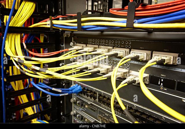 Fiber optic Verbindungen hoher Bandbreite Datenverbindung Stockbild
