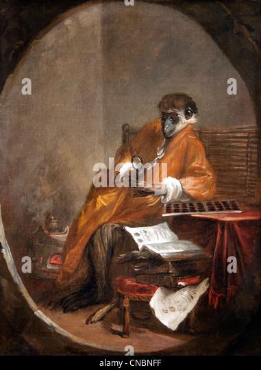 Le singe Antiquaire - The Monkey antiquarische Jean Simeon Chardin 1699-1779 Frankreich Französisch Stockbild