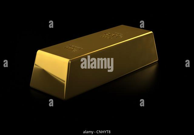 Feine Goldbarren auf schwarzem Hintergrund Stockbild