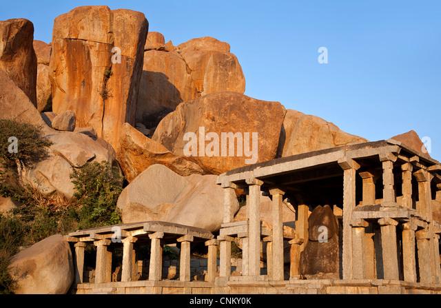 Nandi Bull monolithische Skulptur. Hampi. Karnataka. Indien Stockbild
