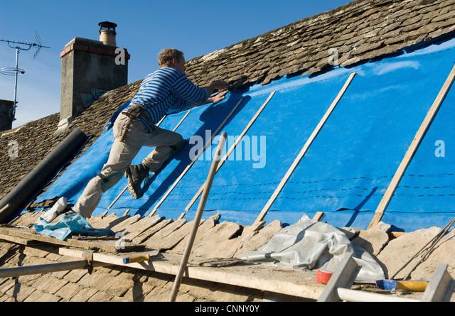 Herrn Fliesen Dach mit Schiefer Stein Stockbild