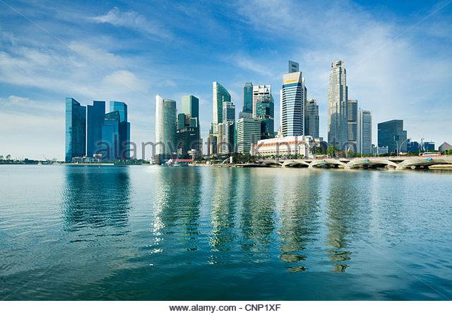 Die Skyline der Stadt, Singapur. Stockbild