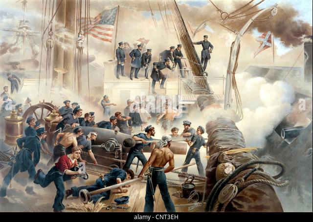 Vintage American Civil War drucken zeigt eine Schlacht auf hoher See zwischen Union und der Konföderation Schiffe. Stockbild
