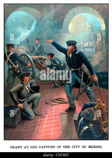 Vintage American History Poster von Ulysses S. Grant Truppen während des mexikanischen amerikanischen Krieges Stockbild
