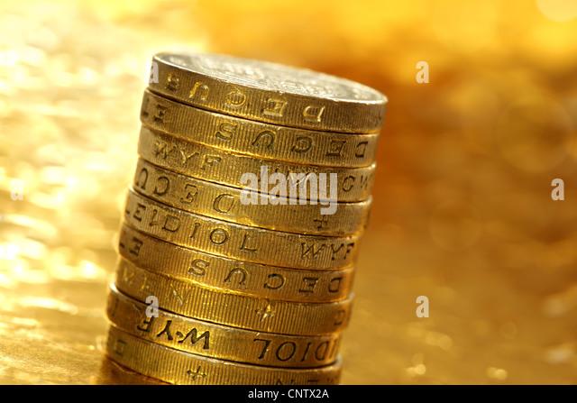 Ein Pfund-Münzen Stockbild